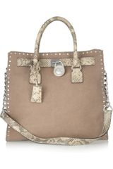 Michael by Michael Kors Hamilton Studded Washed Suede and Python Effect Leather Tote - Lyst