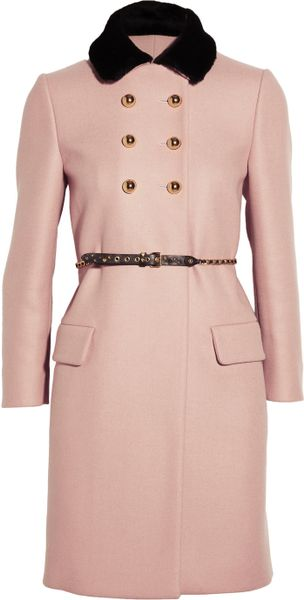 Miu Miu Shearling Collar Double Breasted Wool Coat in Pink (blush) - Lyst
