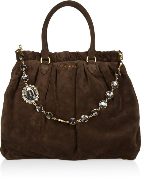 Miu Miu Crystal Chain Strap Suede Tote in Brown (chocolate) - Lyst