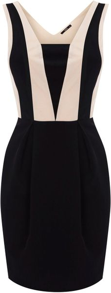 Oasis Colour Block Dress in Black (stone)