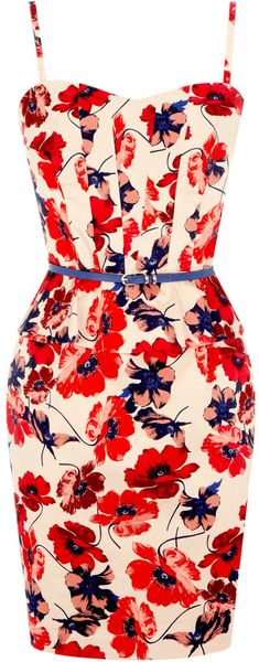 Oasis Poppy Print Dress - Lyst