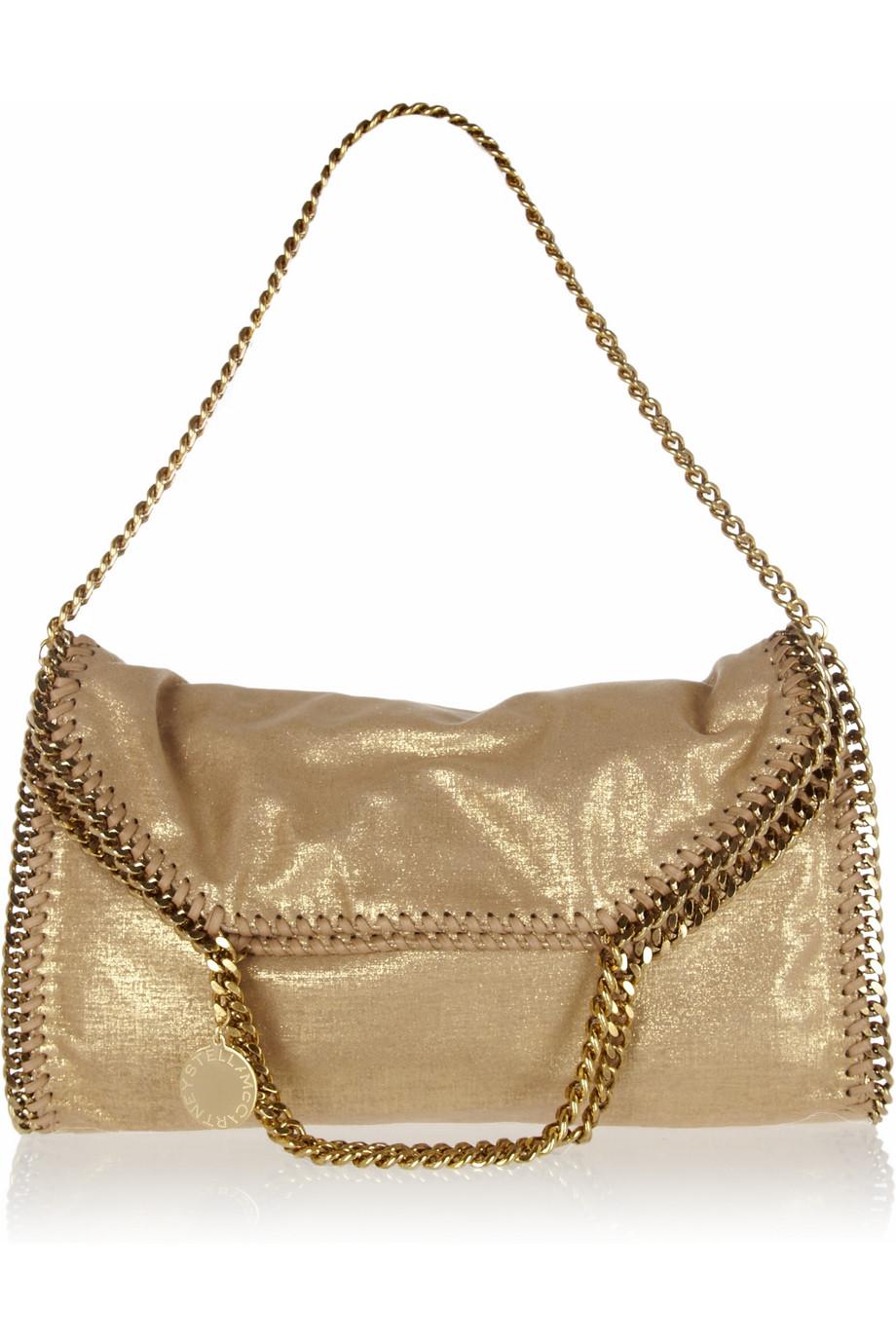 stella mccartney falabella metallic faux suede shoulder bag in gold lyst. Black Bedroom Furniture Sets. Home Design Ideas