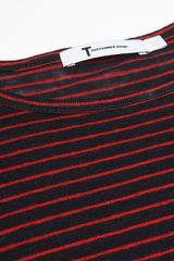 T By Alexander Wang Linen Stripe Tee in Red (ink) - Lyst
