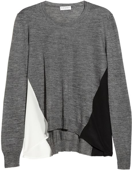 Vionnet Chiffonpaneled Alpaca and Silkblend Sweater in Gray - Lyst
