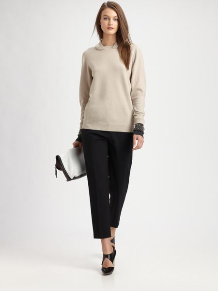 3.1 Phillip Lim Embellished Wool Pullover Sweater in Gray (black) - Lyst