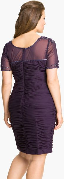 Adrianna Papell Beaded Illusion Ruched Dress In Purple