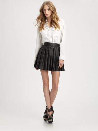 Alice + Olivia Boxpleat Leather Skirt - Lyst