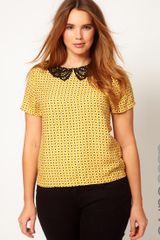 Asos Curve Top with Crochet Collar and Daisy Print - Lyst