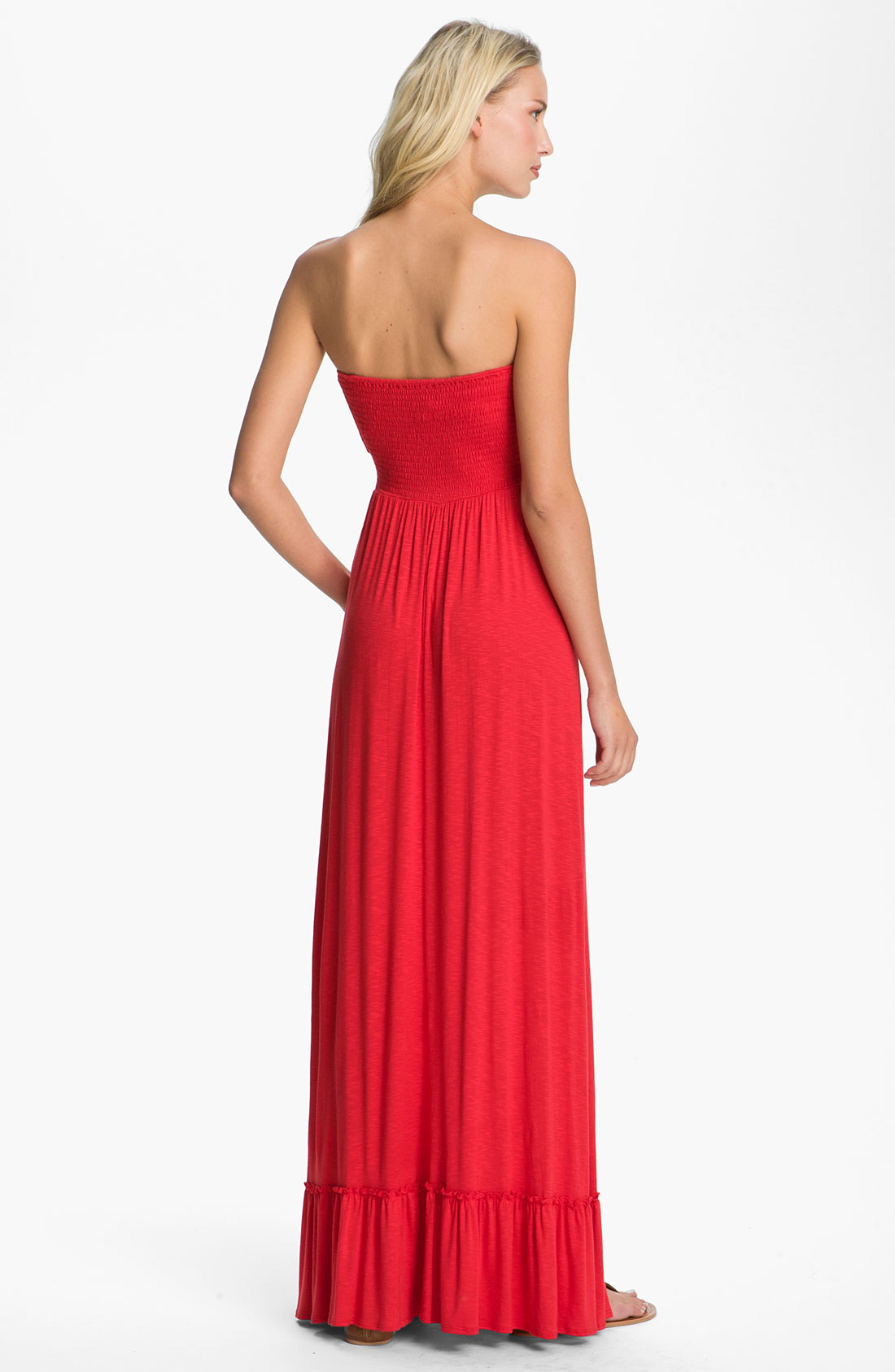Lyst - Bellatrix Strapless Maxi Dress in Red