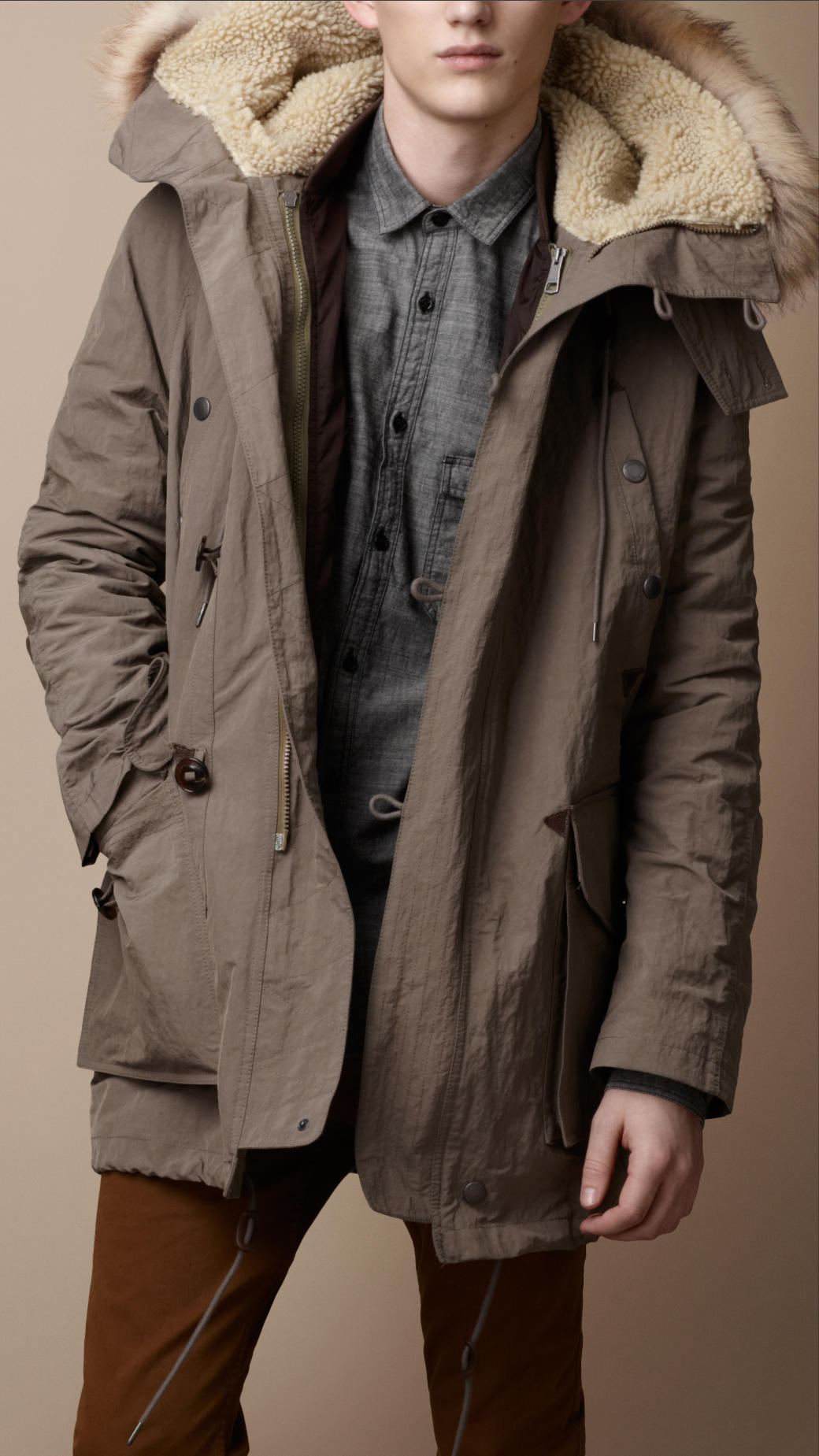 Burberry Brit Downfilled Fur Trim Parka In Gray For Men Lyst