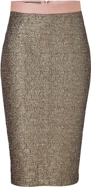 By Malene Birger Dull Gold Dandes Pencil Skirt - Lyst
