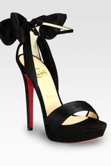 Christian Louboutin Satin and Suede Bow Platform Sandals in Black - Lyst
