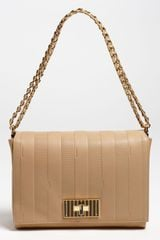 Fendi Paris Pequin Large Leather Shoulder Bag - Lyst