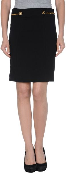 Gucci Knee Length Skirt in Black - Lyst