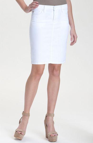 hudson mattie denim pencil skirt in white lyst