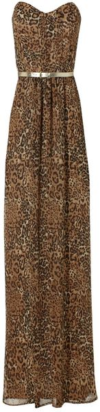Jane Norman Leopard Pleat Maxi Dress - Lyst
