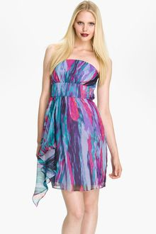 Laundry By Shelli Segal Strapless Side Drape Chiffon Dress - Lyst