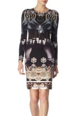 Mary Katrantzou Black and Pearl Crystal Print Nebraska Silk Dress - Lyst