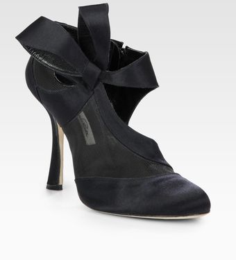 Oscar de la Renta Satin and Mesh Bow Ankle Boots - Lyst