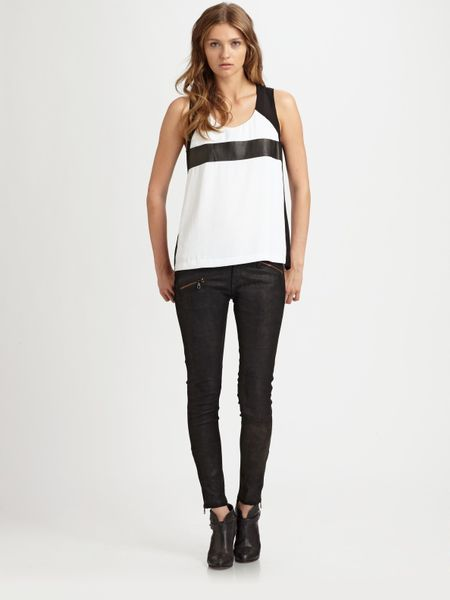 Rag & Bone Lara Leathercolorblock Top in White - Lyst