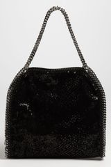 Stella Mccartney Falabella Velvet Paillettes Tote in Black - Lyst
