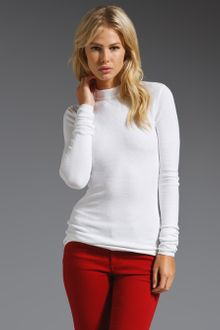 T By Alexander Wang Long Sleeve Mock Neck Thermal Knit Top - Lyst