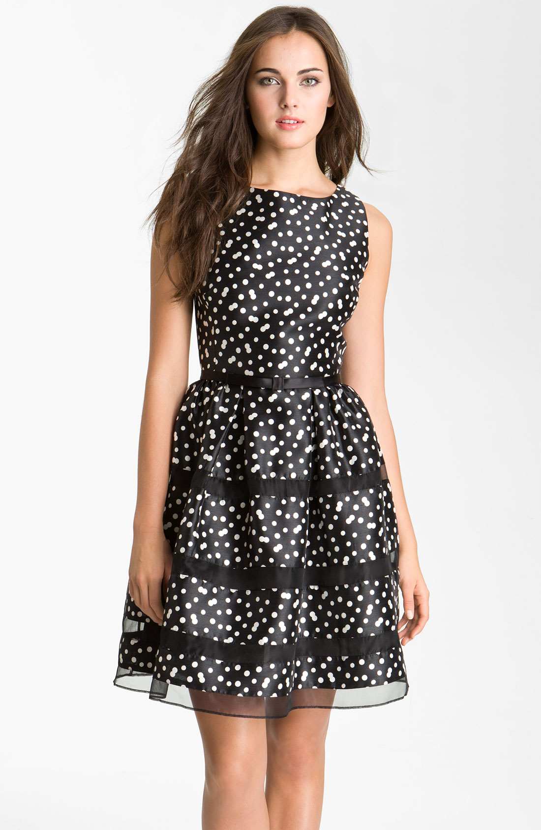 Taylor Dresses Belted Taffeta Fit And Flare Dress In Black