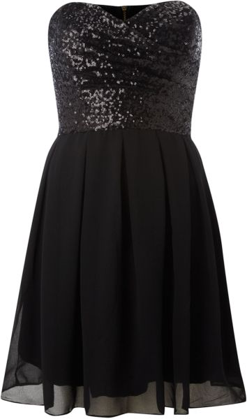 Tfnc Sweetheart Sequin Top Dress in Black - Lyst