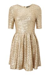 Tfnc Fit and Flare Sequin Dress in Gold - Lyst