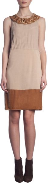 Thomas Maier Ruffled Neck Trim Dress in Beige (champagne) - Lyst