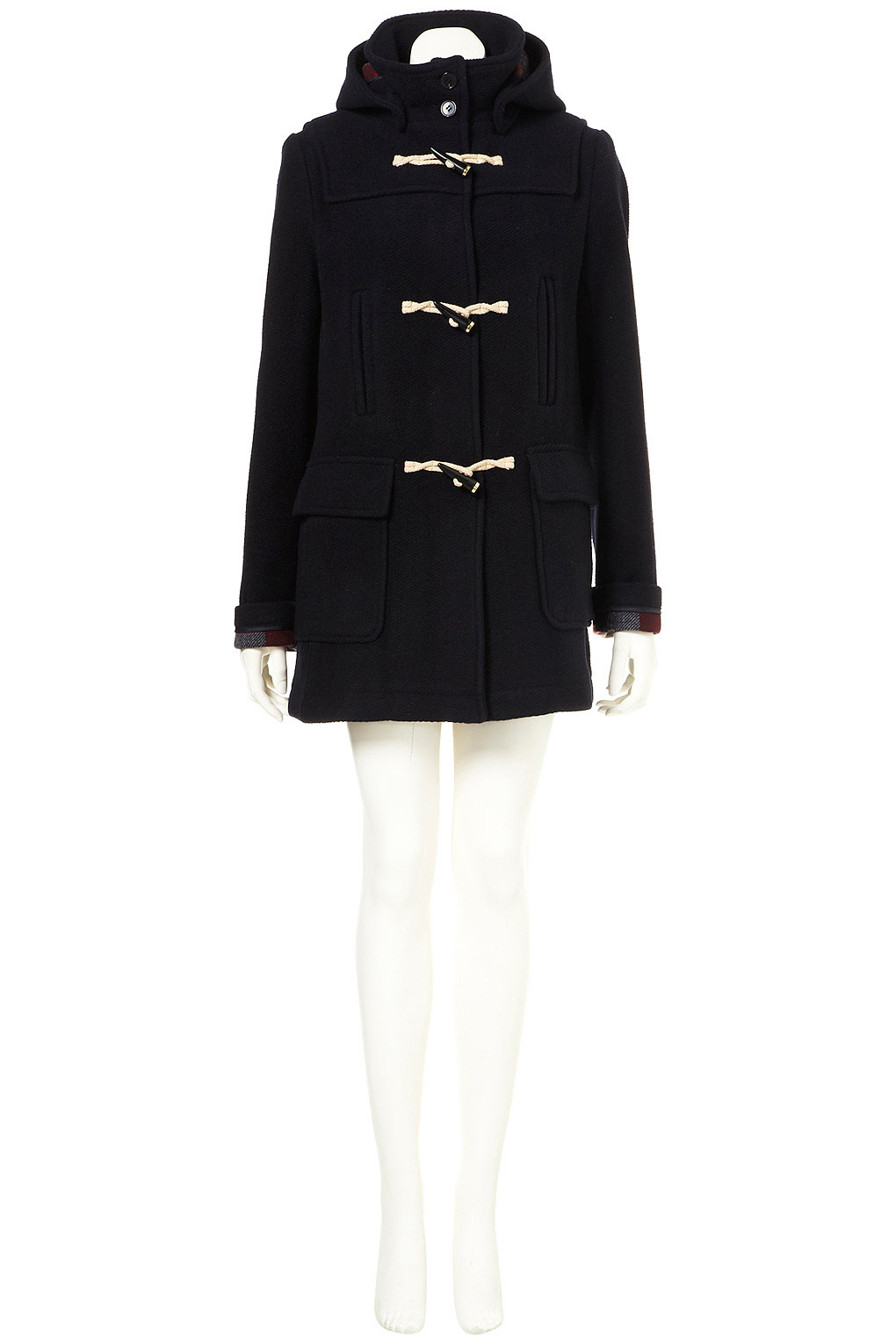 Topshop Navy Bound Seam Duffle Coat in Black | Lyst