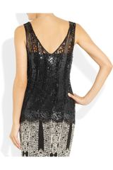 Alberta Ferretti Sequined Tulle Top in Black - Lyst