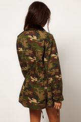 Asos Collection Asos Army Camo Jacket with Detachable Fur Trim Collar in Green (khaki) - Lyst