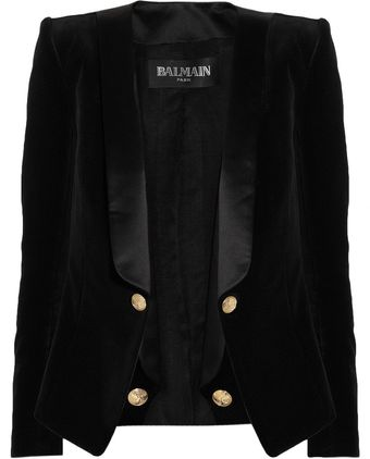 Balmain Velvet and Satin Blazer - Lyst