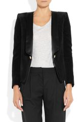 Balmain Velvet and Satin Blazer in Black - Lyst