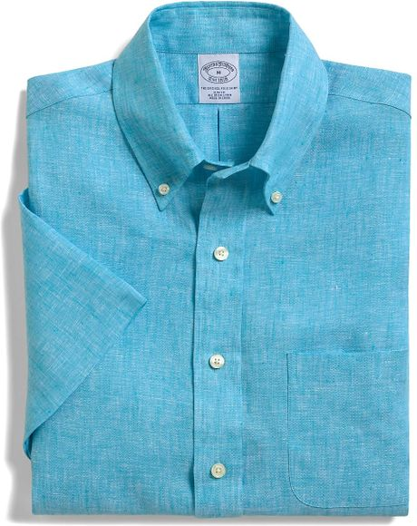 Brooks brothers slim fit irish linen short sleeve sport for Brooks brothers shirt size guide