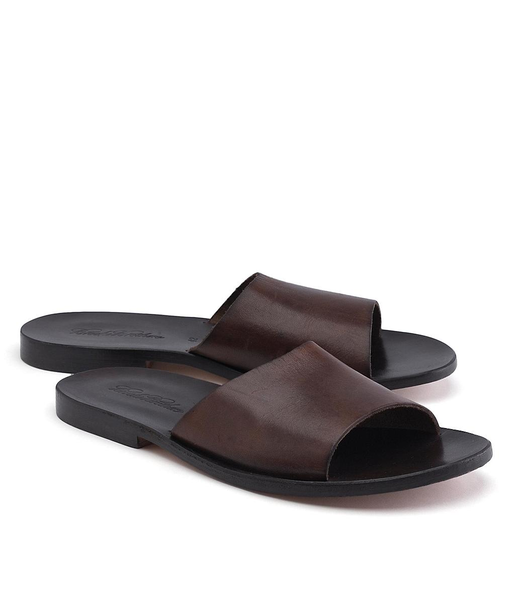 Lyst Brooks Brothers Leather Slide Sandal In Brown For Men