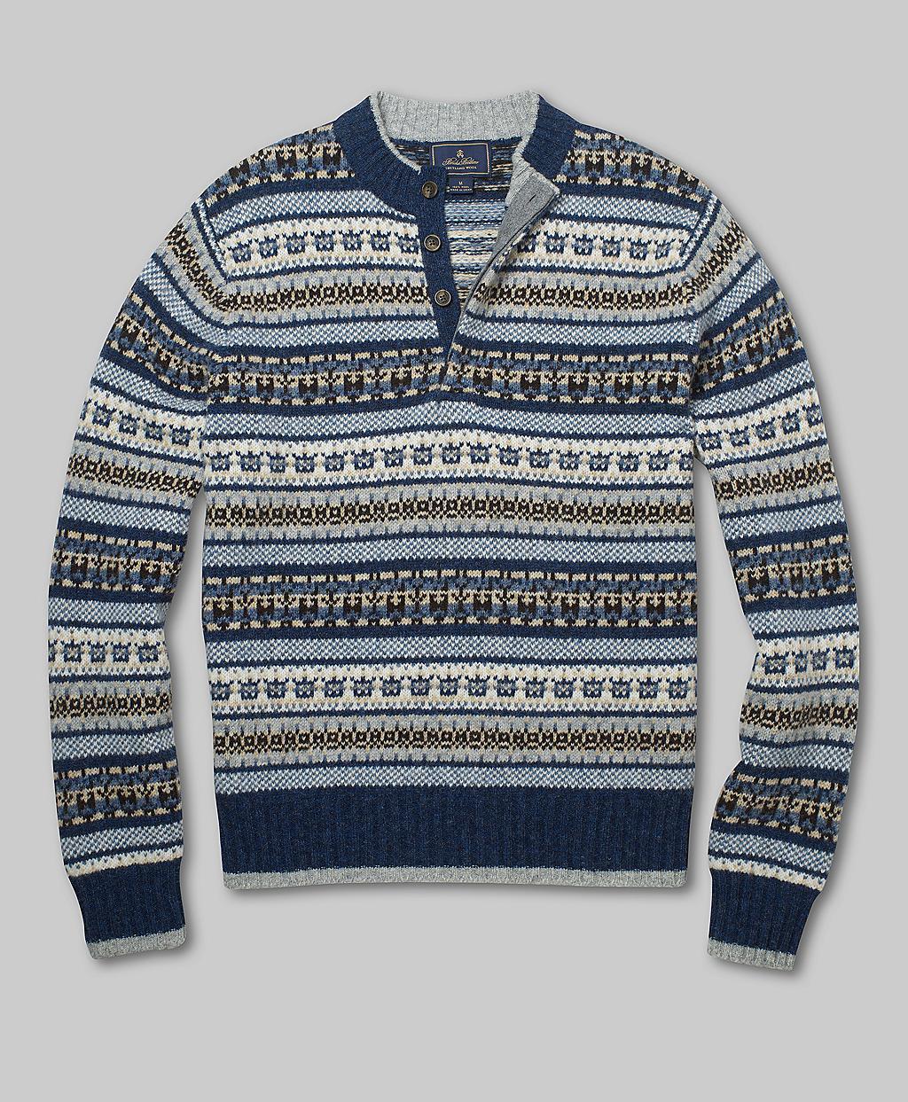 Brooks brothers Shetland Fair Isle Button Mockneck Sweater in Blue ...