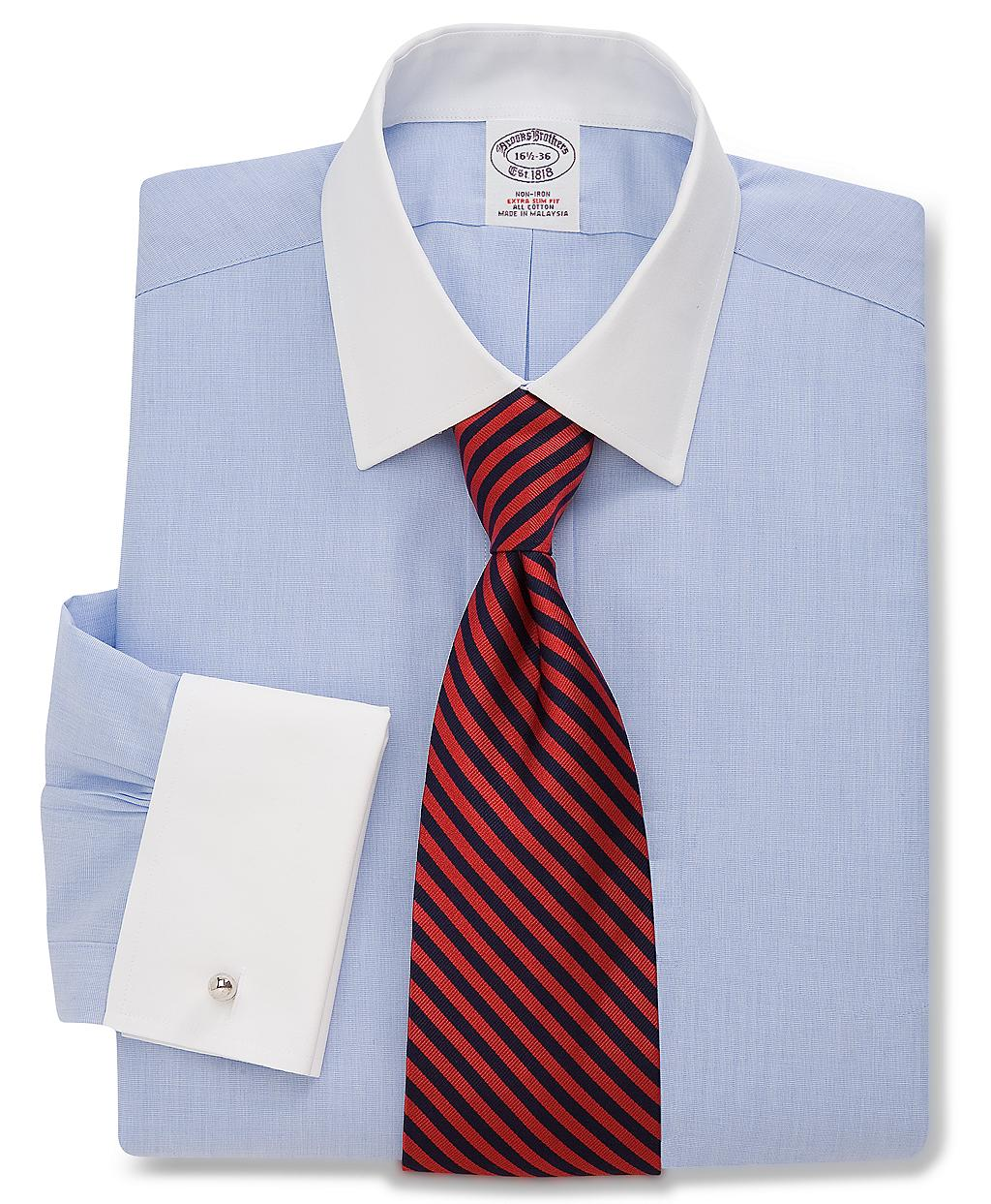 Brooks brothers noniron extraslim fit ainsley french cuff for Light blue french cuff dress shirt