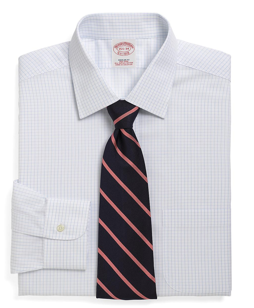 Brooks brothers non iron milano fit medium check dress for Brooks brothers dress shirt fit