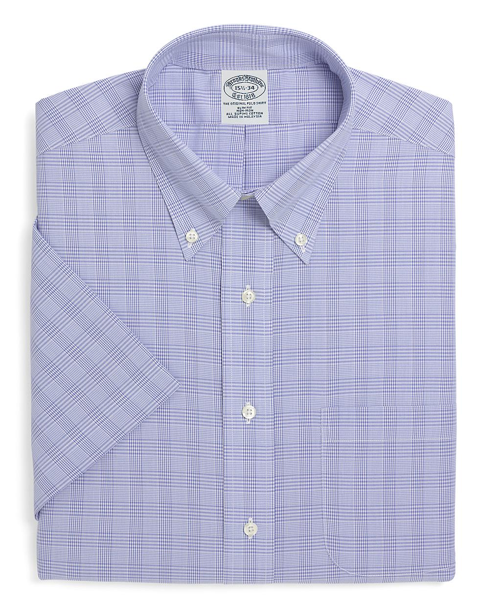 Brooks brothers supima cotton noniron slim fit shortsleeve for Brooks brothers dress shirt fit guide
