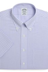 Brooks Brothers Supima Cotton Noniron Slim Fit Shortsleeve Shadow Check Dress Shirt - Lyst