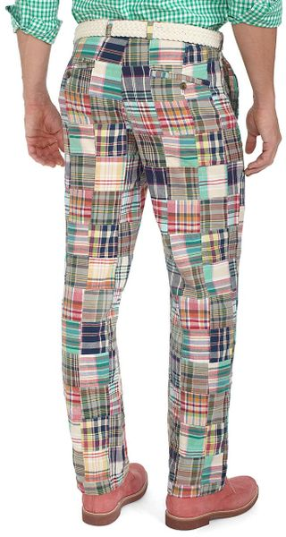 Brooks Brothers Clark Plainfront Patchwork Madras Pants In