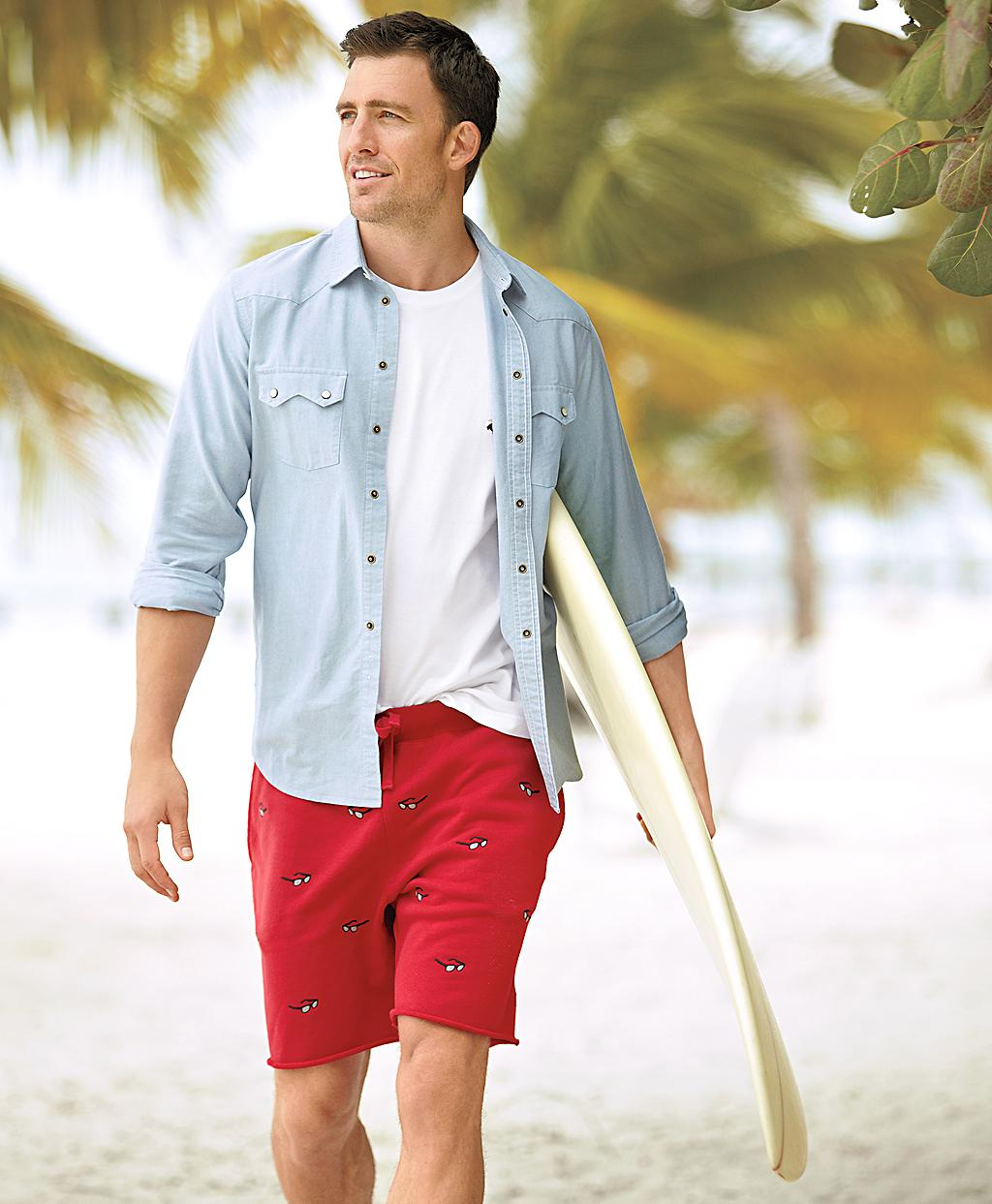 Brooks brothers Sunglass Embroidered Cutoff Sweat Shorts in Red ...