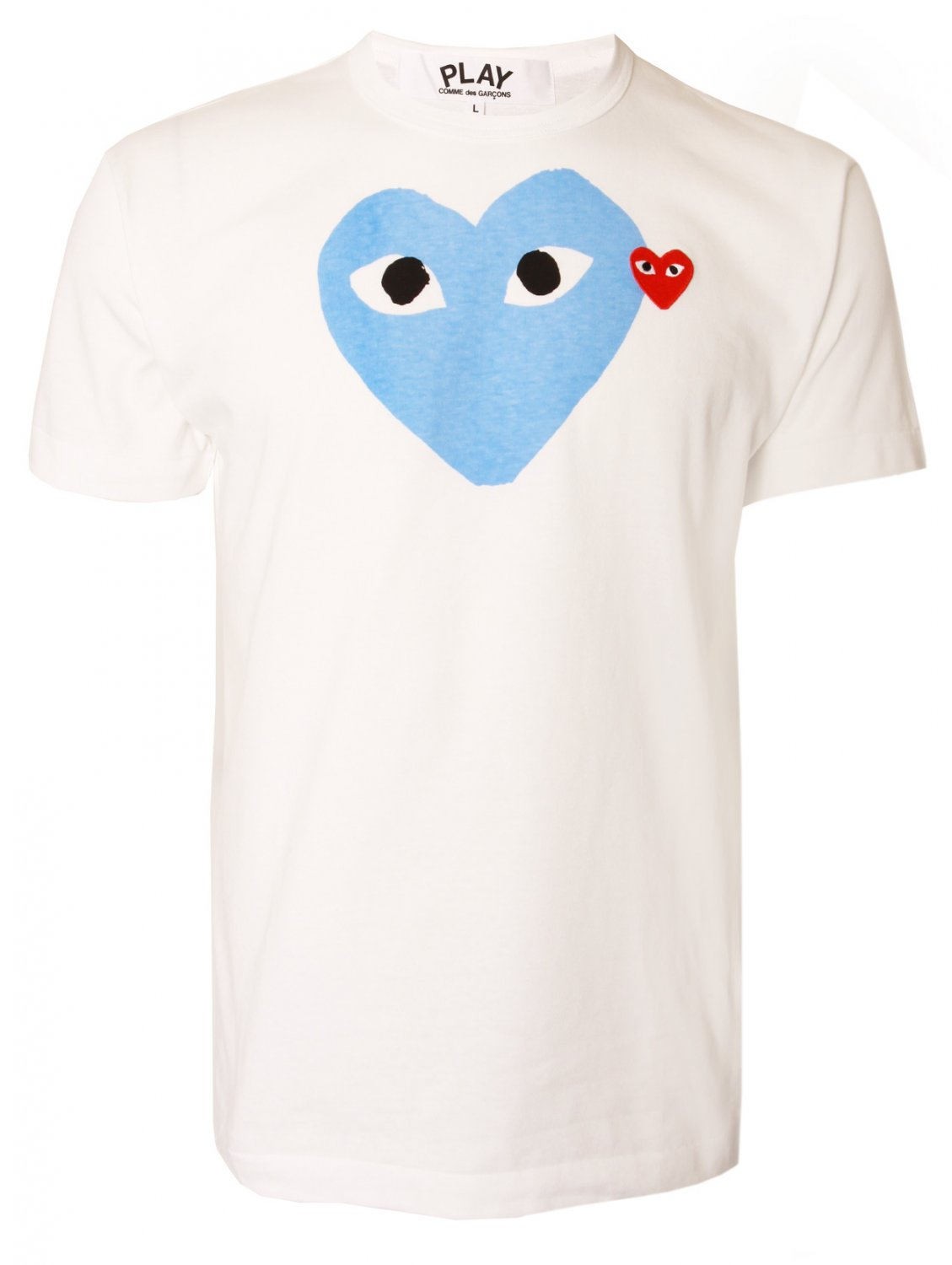 play comme des gar ons play mens blue heart logo t shirt. Black Bedroom Furniture Sets. Home Design Ideas