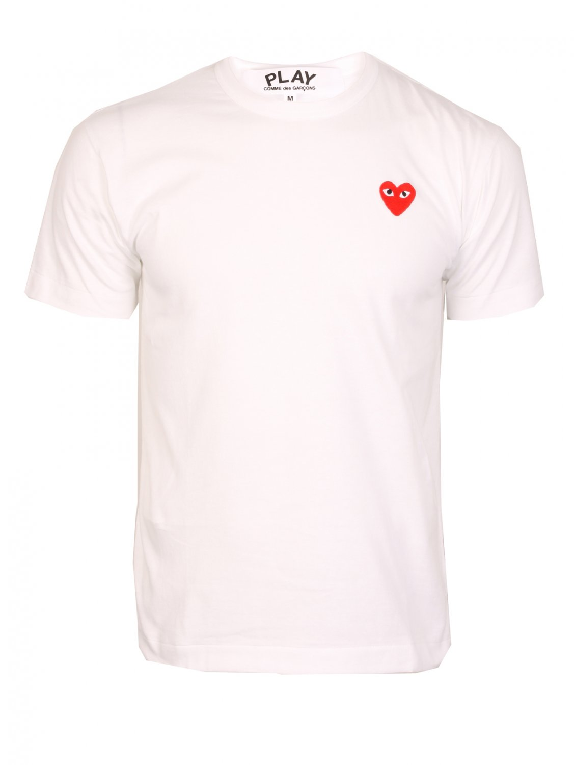 comme des gar ons heart motif cotton t shirt in white for