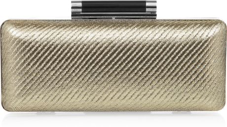 Diane Von Furstenberg Tonda Metallic Twill and Leather Clutch in Gold - Lyst