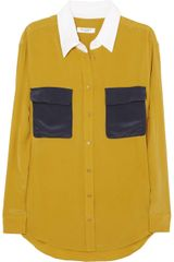 Equipment Colorblock Washedsilk Shirt in Yellow (mustard) - Lyst