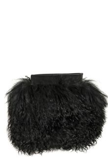 Gareth Pugh Leather Mongolia Fur Clutch - Lyst