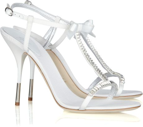 Giuseppe Zanotti Crystalembellished Twill Tbar Sandals in White - Lyst